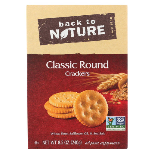 Back To Nature Classic Round Crackers - Safflower Oil And Sea Salt - Case Of 6 - 8.5 Oz.-Eco-Friendly Home & Grocery-Back To Nature-EpicWorldStore.com