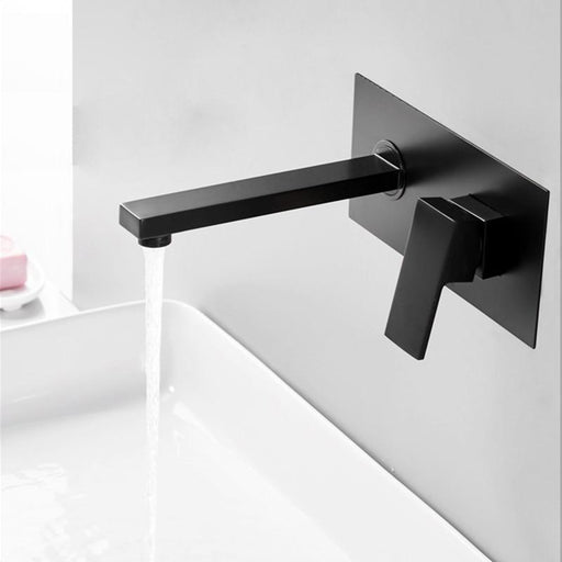 Bakala Luxury Matte Black Bathroom Faucet Basin Sink Tap Wall Mounted Square Brass Mixer Tap Lt-Basin Faucets-bakala Official Store-Without box-EpicWorldStore.com