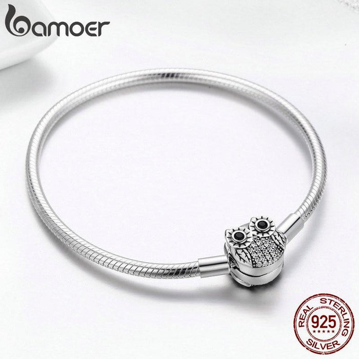 Bamoer Authentic 100% 925 Sterling Silver Cute Animal Owl Clasp Women Snake  Chain Bracelet- 1893d69a2071