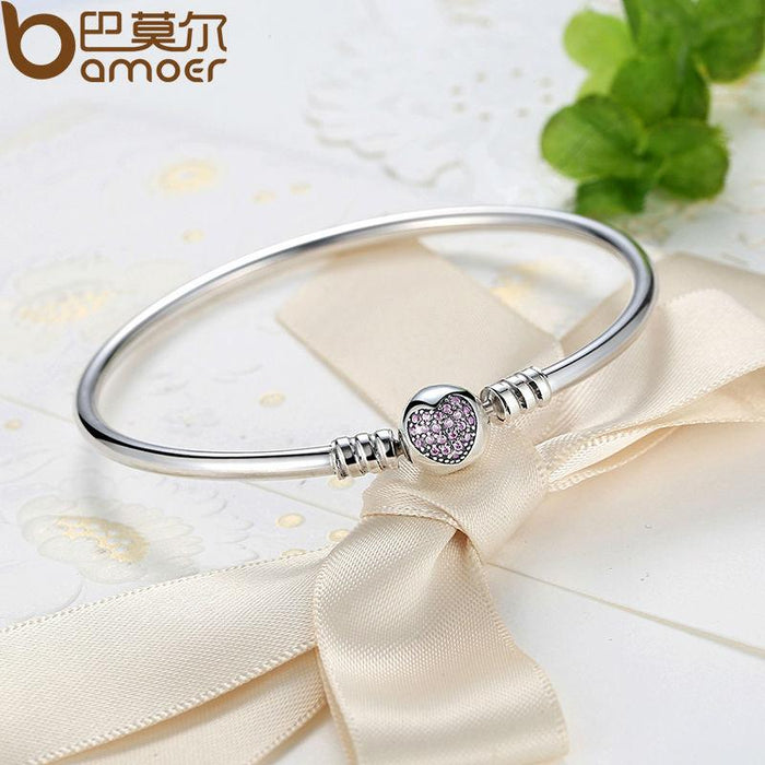 Bamoer Authentic 100% 925 Sterling Silver Snake Chain Heart Bangle    Bracelet Luxury Jewelry Pas904 4eab35254097