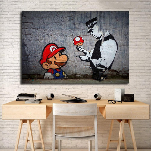 Banksy Super Mario Wallpaper Hd Wall Art Canvas Posters Prints Painting Wall Pictures For Office-Painting & Calligraphy-Shop1268595 Store-12x8 inch-No Frame-EpicWorldStore.com