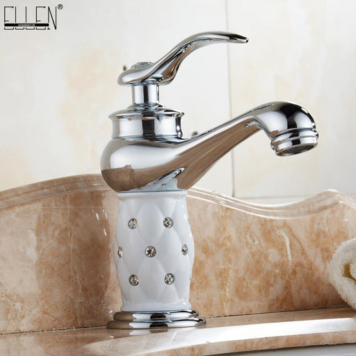 Basin Faucets Chrome Bathroom Sink Faucet Deck Mounted Hot And Cold Water Single Hole Mixer Taps-Basin Faucets-ELLEN HOMEDECOR Official Store-Short A-EpicWorldStore.com
