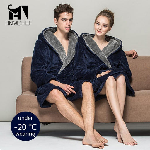 Bath Robe Lovers Luxury Winter Thick Flannel Long Bathrobe Mens Womens Homewear Male Sleepwear-Sleep & Lounge-zhzh Store-S-EpicWorldStore.com