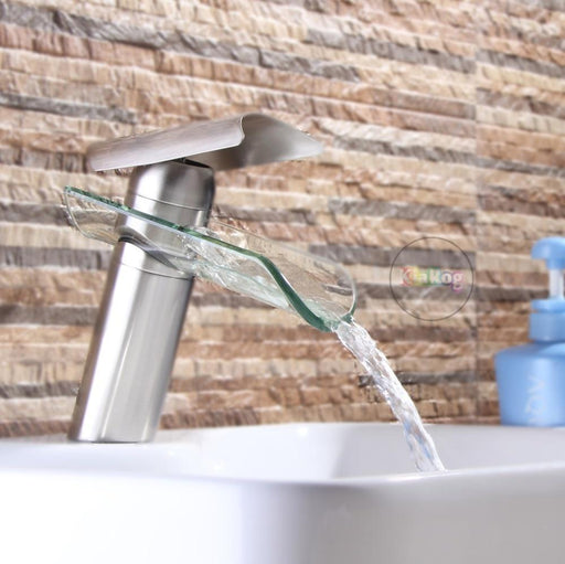 Bathroom Faucet, Advanced Modern Glass Waterfall Contemporary Chrome Brass Bathroom Basin Sink-Basin Faucets-Accipiter SanitaryWare Store-Chrome-EpicWorldStore.com