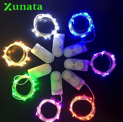 Battery Powered 10 20 Led Fairy String Light 1M 2M 4M Silver Copper Wire Mini Lamp For Christmas-Holiday Lighting-XUNATA XUNATA Store-blue-2m-EpicWorldStore.com
