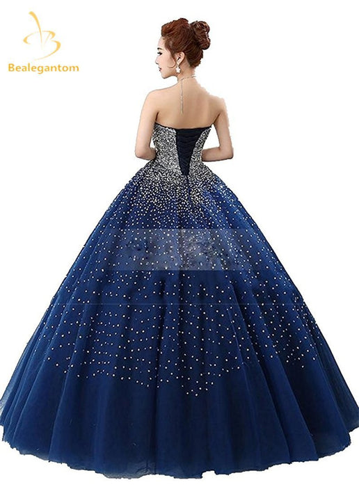 b95974f232e Bealegantom Royal Blue Quinceanera Dresses Ball Gown Beaded Crystal Lace Up  Sweet 15 16 Dresses-