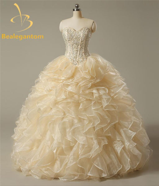 871d24d035 Bealegantom Stock Cheap Pearls Quinceanera Dresses Ball Gown Beaded  Crystals Sweet 16 Dresses-Quinceanera Dresses