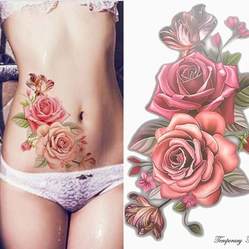 Beauty 1Piece Make Up Fake Temporary Tattoos Stickers Rose Flowers Arm Shoulder Tattoo Waterproof-Tattoo & Body Art-SANHE NAIL & BEAUTY STORE-EpicWorldStore.com