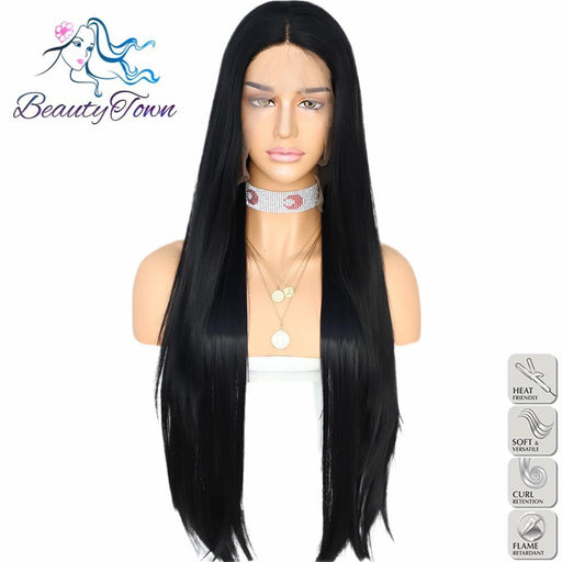Beautytown Handtied 1B Black Orange Red 1B White Heat Resistant Straight Cosplay Celebrity Girl-Synthetic None-Lace Wigs-BeautyTown FashionWig Store-#1B-18inches-EpicWorldStore.com
