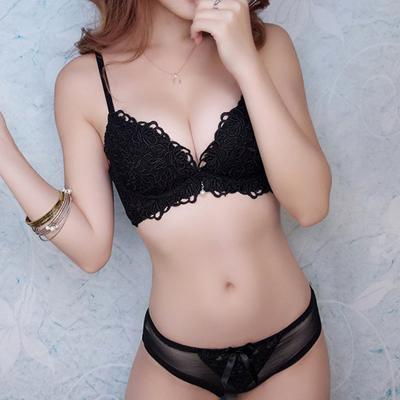 Beforw Women Stylish Bra Set Floral Embroidery Adjusted Push Up Bra Set Thick Underwear Women Padded-Bra & Brief Sets-SheSay Store-Black-70B-EpicWorldStore.com