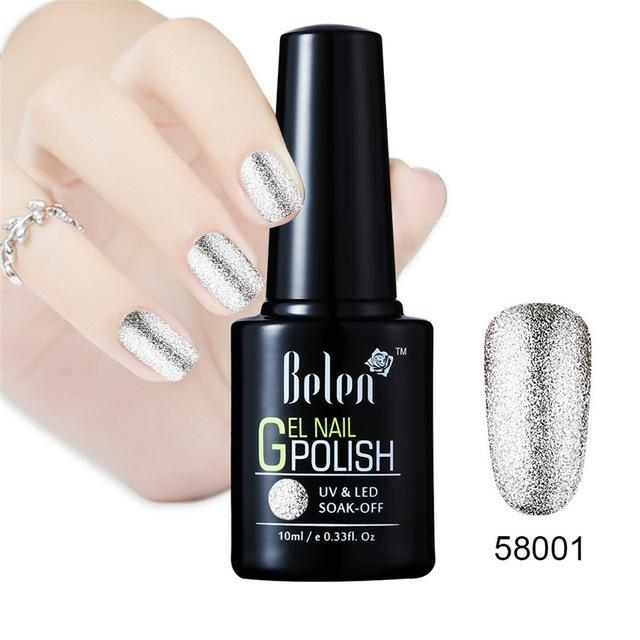 Belen 10ml Bling Glitter Nail Art Platinum Gel Nail Polish Uv Gel