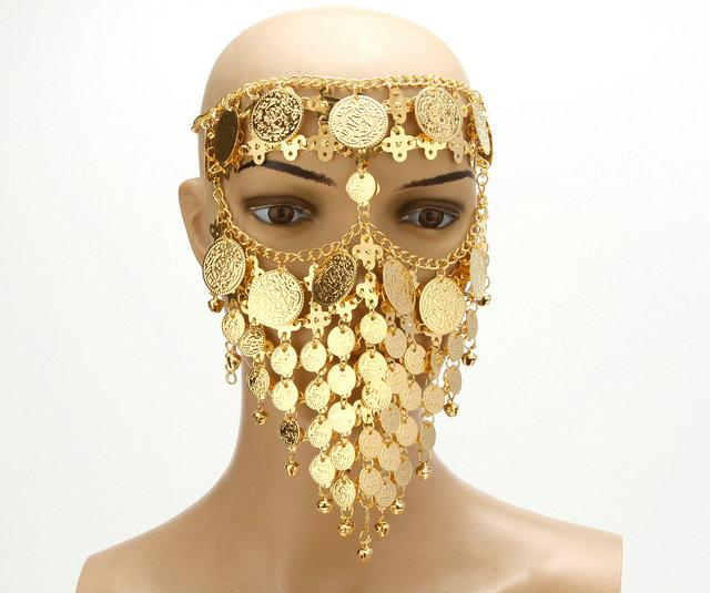 Belly Dance Costume Headwear Coins Face Mask Veil Tribal Arab African Egypt Gold Plated Accessory-Stage & Dance Wear-Moon Dance Store-gold-EpicWorldStore.com