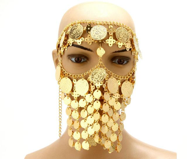 Belly Dance Costume Headwear Coins Face Mask Veil Tribal Arab African Egypt Gold Plated Accessory-Stage & Dance Wear-Moon Dance Store-gold2-EpicWorldStore.com