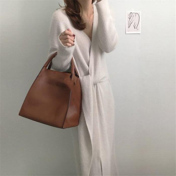 Belted Cashmere Sweater Dress Sashes Office Lady V Neck Knitted Dress Winter Warm Thick Dress-Dresses-Shop4636011 Store-Beige-One Size-EpicWorldStore.com