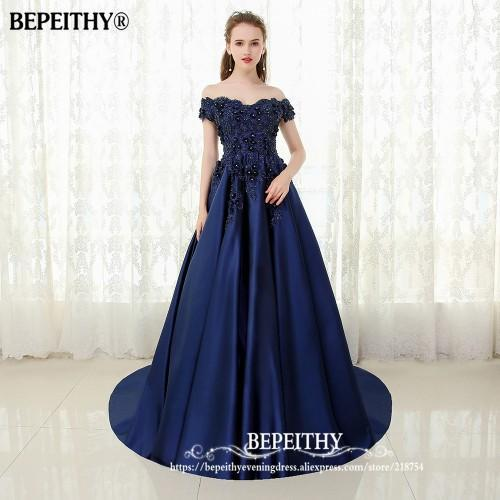 Bepeithy V-Neck Navy Blue Long Evening Dress Lace Beaded Vintage Prom Gowns  Vestido De bd2795911457
