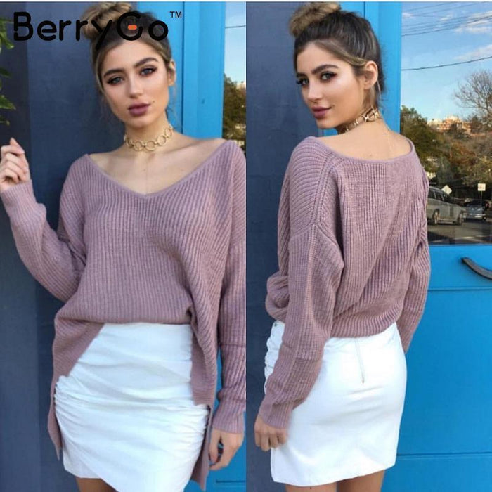 Berrygo Stylish Off Shoulder Split Knitted Sweater Women Brand Black Pullovers Knitwear Autumn-Sweaters-BerryGo Offical Store-Black-EpicWorldStore.com