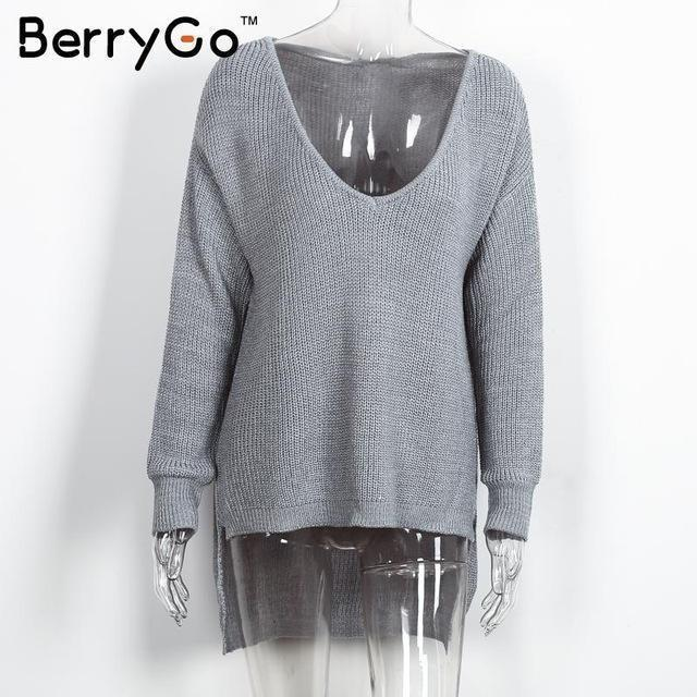 Berrygo Stylish Off Shoulder Split Knitted Sweater Women Brand Black Pullovers Knitwear Autumn-Sweaters-BerryGo Offical Store-Gray-EpicWorldStore.com