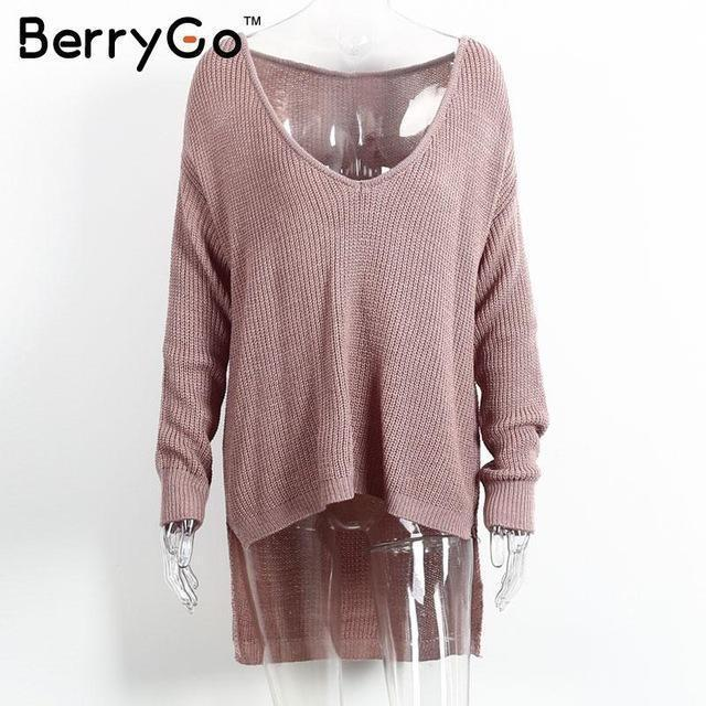 Berrygo Stylish Off Shoulder Split Knitted Sweater Women Brand Black Pullovers Knitwear Autumn-Sweaters-BerryGo Offical Store-Gray Purple-EpicWorldStore.com