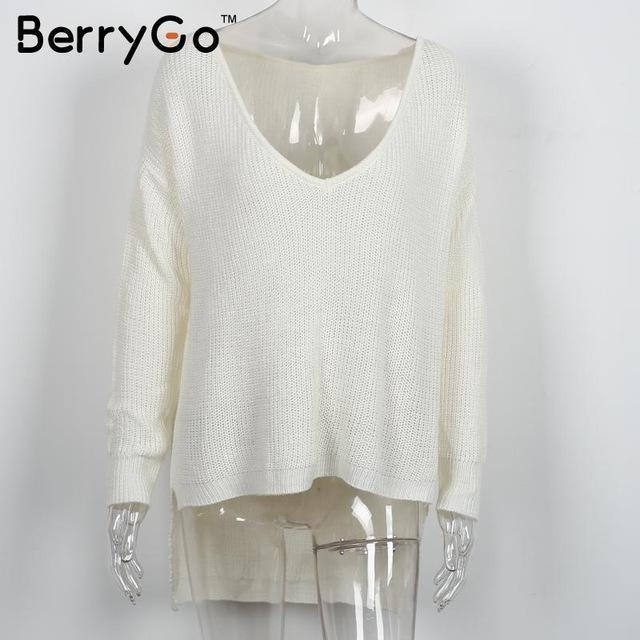 Berrygo Stylish Off Shoulder Split Knitted Sweater Women Brand Black Pullovers Knitwear Autumn-Sweaters-BerryGo Offical Store-White-EpicWorldStore.com