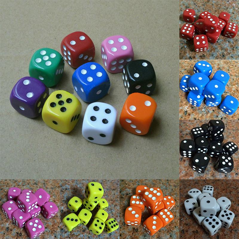 Best Promotion 10Pcs 16Mm Multicolor Acrylic Round Corner Dice 6 Sided Die Portable Table Games Dice-Entertainment-Fannie Outdoor-Black-EpicWorldStore.com