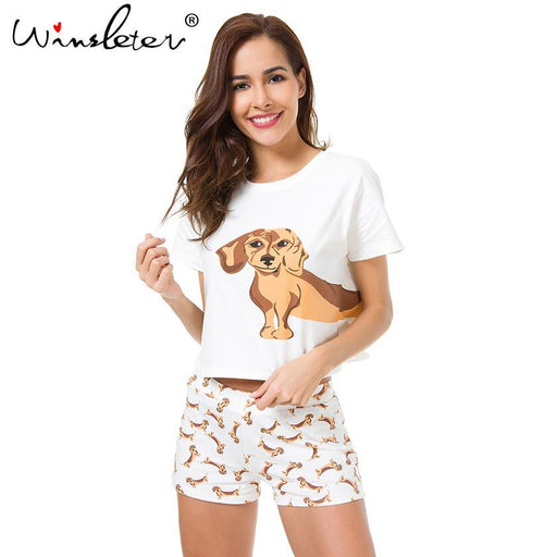 Best Seller Cute Womens Pajama Sets Dachshund Print 2 Pieces Set Dog Crop Top + Shorts Elastic-Sleep & Lounge-Winsleter Pajamas Store-Pink dachshund set-XS-EpicWorldStore.com