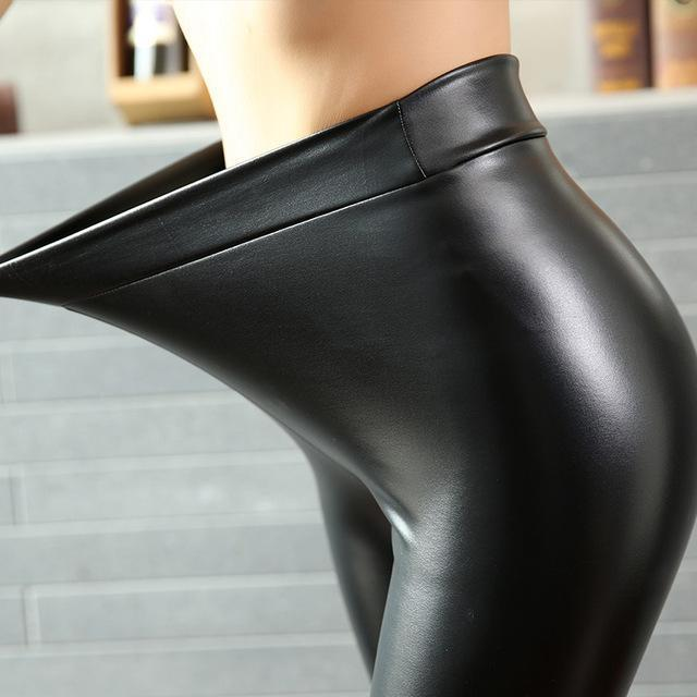 Bivigaos Women Pu Leather Pants High Elastic Waist Leggings Not Crack Slim Leather-Bottoms-BIVIGAOS ZY Store-Thin Fleece Leather-S-EpicWorldStore.com