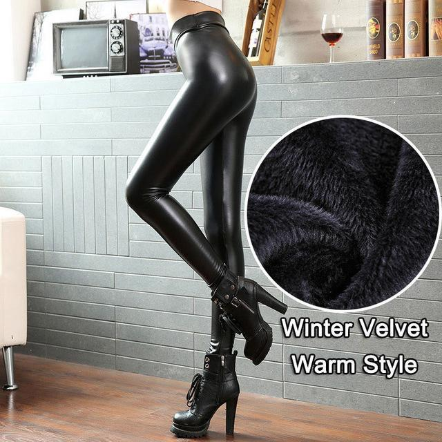 Bivigaos Women Pu Leather Pants High Elastic Waist Leggings Not Crack Slim Leather-Bottoms-BIVIGAOS ZY Store-Velvet Warm Leather-S-EpicWorldStore.com