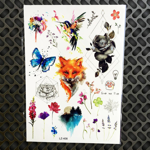 Black Diamond Geometry Owl Temporary Tattoo Sticker Women Fake Henna Waterproof Tattoo Decals-Tattoo & Body Art-YURAN Official Store-GLZ405-EpicWorldStore.com