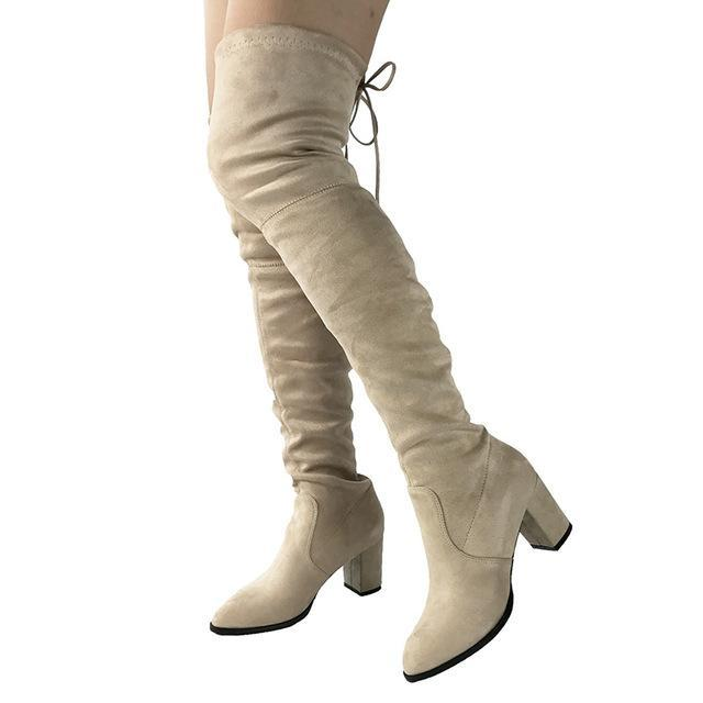 46b548c4c Black Gray Womens Micro Suede Thigh High Boots Block Thick Heel Stretch Over  The Knee Boots