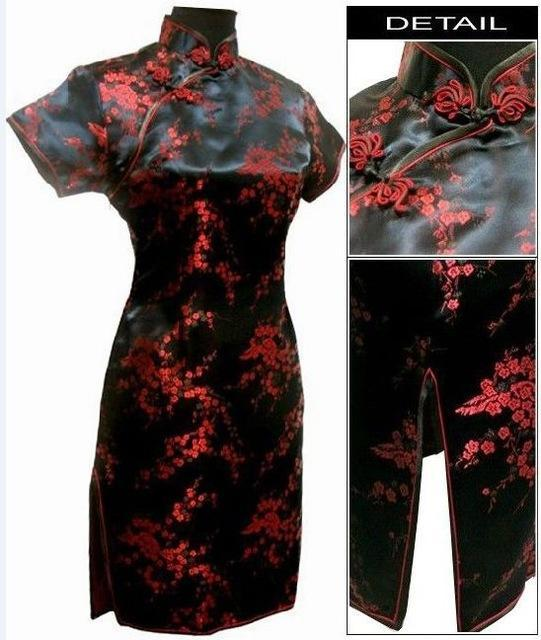Black Traditional Chinese Dress Mujer Vestido Womens Satin Qipao Mini Cheongsam Flower Size S M L-Traditional & Cultural Wear-Vintage Element-Black Red-S-EpicWorldStore.com