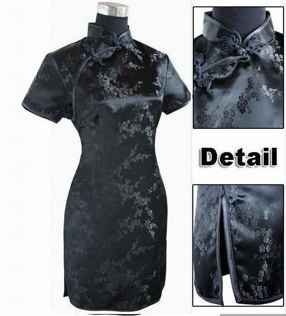 Black Traditional Chinese Dress Mujer Vestido Womens Satin Qipao Mini Cheongsam Flower Size S M L-Traditional & Cultural Wear-Vintage Element-Black-S-EpicWorldStore.com