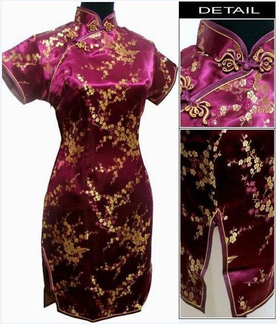 Black Traditional Chinese Dress Mujer Vestido Womens Satin Qipao Mini Cheongsam Flower Size S M L-Traditional & Cultural Wear-Vintage Element-Burgundy-S-EpicWorldStore.com