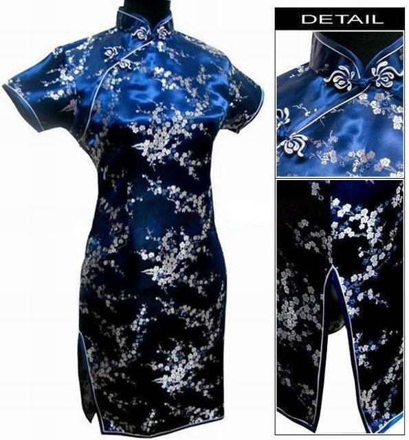 Black Traditional Chinese Dress Mujer Vestido Womens Satin Qipao Mini Cheongsam Flower Size S M L-Traditional & Cultural Wear-Vintage Element-Navy Blue-S-EpicWorldStore.com