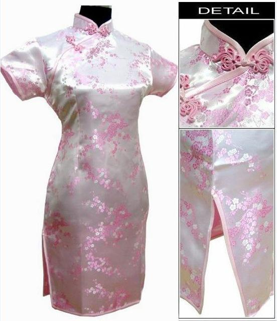 Black Traditional Chinese Dress Mujer Vestido Womens Satin Qipao Mini Cheongsam Flower Size S M L-Traditional & Cultural Wear-Vintage Element-Pink-S-EpicWorldStore.com