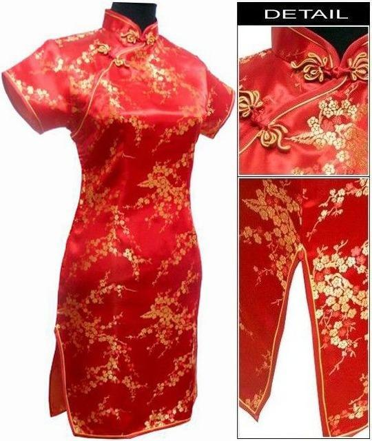 Black Traditional Chinese Dress Mujer Vestido Womens Satin Qipao Mini Cheongsam Flower Size S M L-Traditional & Cultural Wear-Vintage Element-Red-S-EpicWorldStore.com