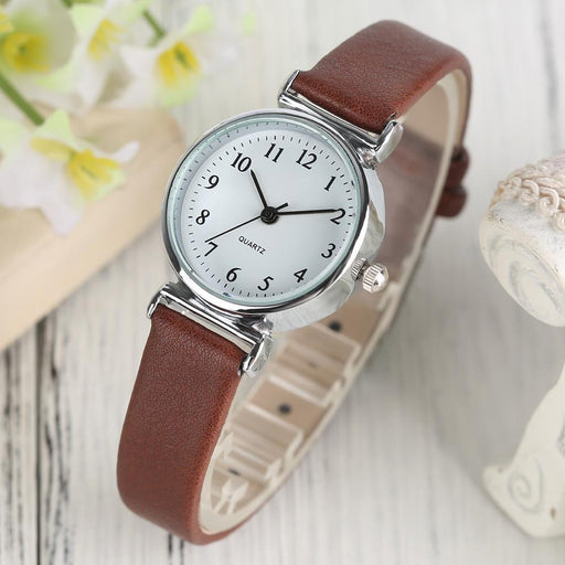 Black/White/Brown/Red Small Dial Womens Bracelet Watches Ladies Quartz Simple Wrist Watch Girl-Women's Bracelet Watches-Timing Store-Brown-EpicWorldStore.com