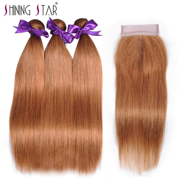 Blonde Brazilian Hair Weave 3 Bundles With Closure Straight Human