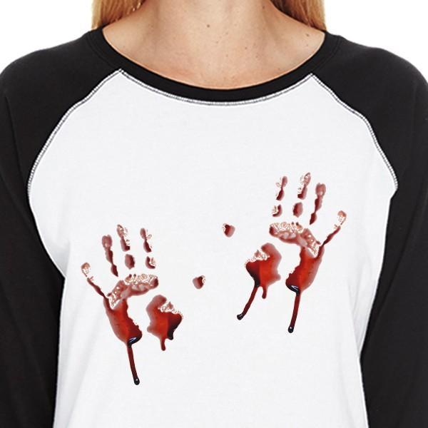 3d9ff9f45c Bloody Handprints Womens Black And White Baseball Shirt-Apparel    Accessories-365 Printing-