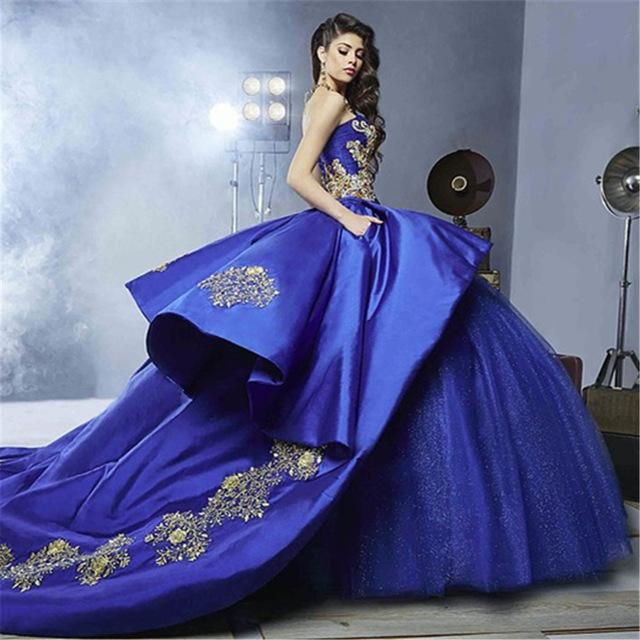 ded9b1232217 Blue Quinceanera Dress For 15 Year Girl Ball Gown Sweetheart Ruffled ...