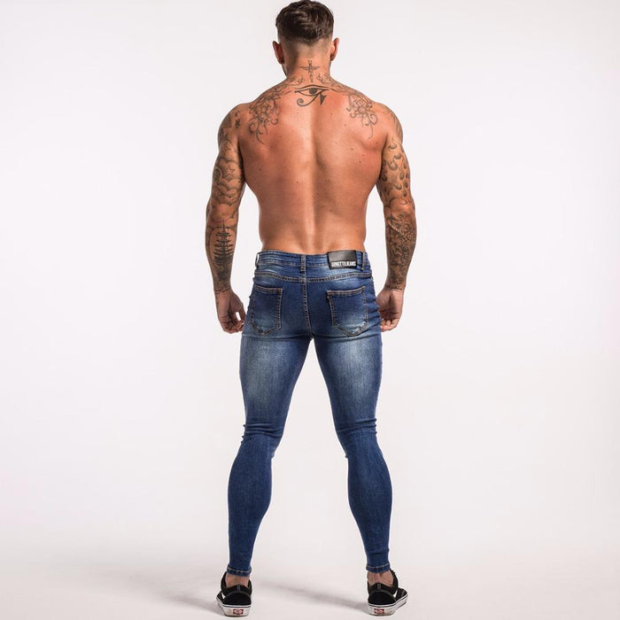 07934848e3 Blue Ripped Jeans For Men Super Stretch Male Pant Distressed Fake Designer  Brand Men Jeans Skinny