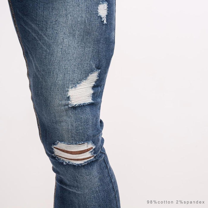 8241680489 Men's Clothing GINGTTO Men Skinny Jeans Super Stretch Ripped Denim Jeans