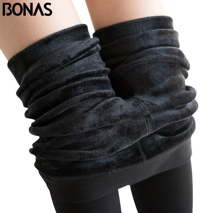 e7bf3b49c8b08 Bonas Winter Warm Pantyhose Tights High Elastic Waist Velvet Legins Thick  Tights Female Plus Size-
