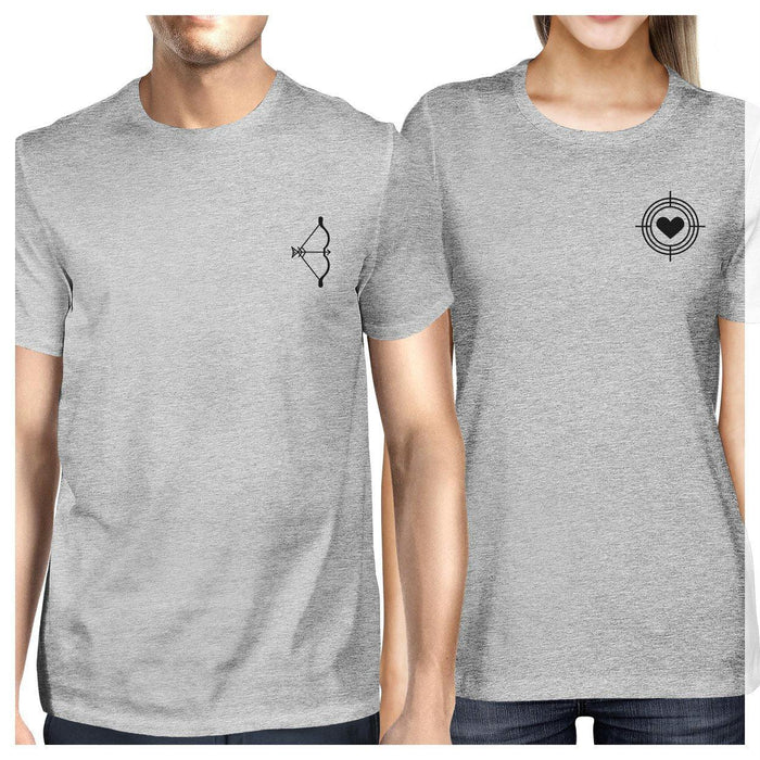 7da1f064d24e9 Bow And Arrow To Heart Target Matching Couple Grey Shirts-Apparel    Accessories-365