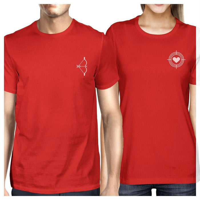 c67290e1f45ac Bow And Arrow To Heart Target Matching Couple Red Shirts-Apparel    Accessories-365