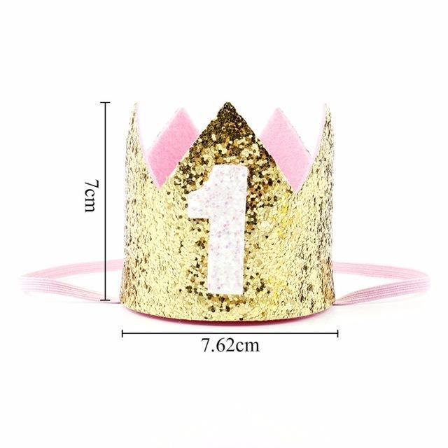 Boy Silver First Birthday Party Hat Girl Gold Pink Princess Crown Number 1 2 3 Year Old