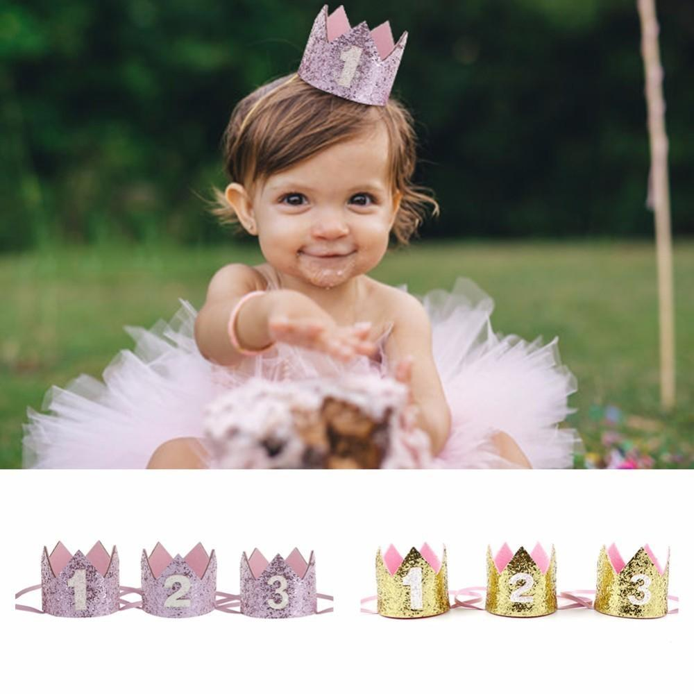 Boy Silver First Birthday Party Hat Girl Gold Pink Princess Crown Number 1 2 3 Year