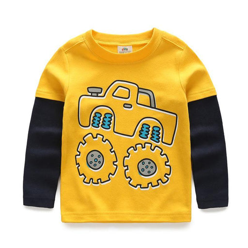 Boys T-Shirt Kids Tees Baby Child Boy Cartoon Spring Children Tee Long Sleeve Stitching Cotton-Boys Clothing-UBABY KIDS CLOTHING STORE-bluetruck-2T-EpicWorldStore.com
