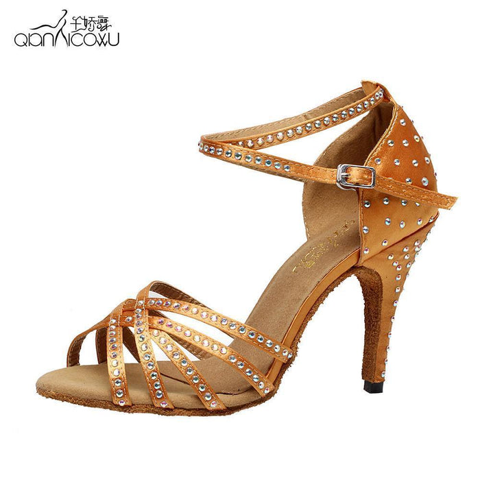 Brand Bronze Black Satin Latin Dancing Shoes Womens Rhinestone Companionship Shoes Salsa Party-Sneakers-Arno Dance Shoes Store-black heel 10cm-4-EpicWorldStore.com