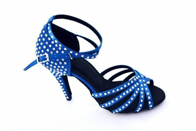 Brand Bronze Black Satin Latin Dancing Shoes Womens Rhinestone Companionship Shoes Salsa Party-Sneakers-Arno Dance Shoes Store-Blue as picture 10cm-4-EpicWorldStore.com