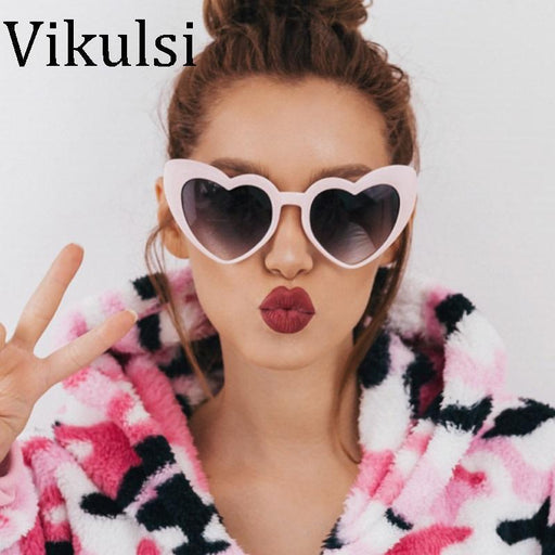 Brand Design Heart-Shaped Women Sunglasses Retro Romantic Shades Lover Cute Sun Glasses-Sunglasses-vikulsi Official Store-D332 black grey-EpicWorldStore.com